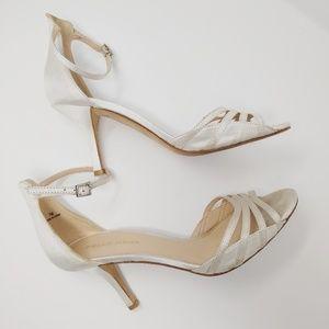Pelle Moda | white satin & leather heels